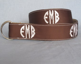 Women's Embroidered Circle Monogram Belt