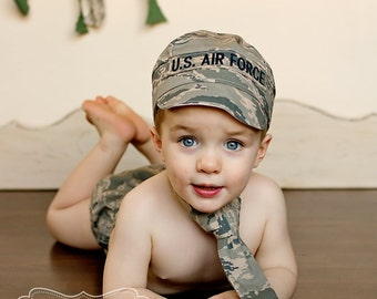 Military Set - All Branches Hat, Tie and Diaper Cover