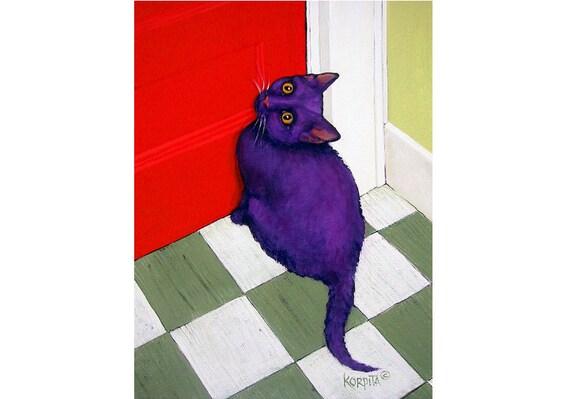 Funny Purple Cat Folk Art Red Door 9x12 Glicee Print from original painting - Cat Meets Door -  Korpita ebsq