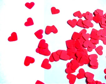 Heart Confetti Mini Confetti Die Cuts - Valentines Day Red Hearts Punch Outs - Set of 100