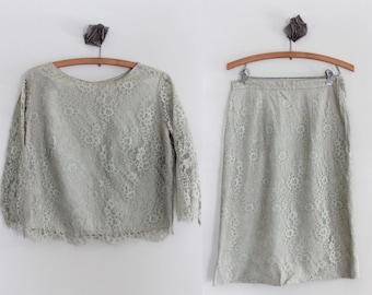 1960s Vintage Lace Suit/Sage