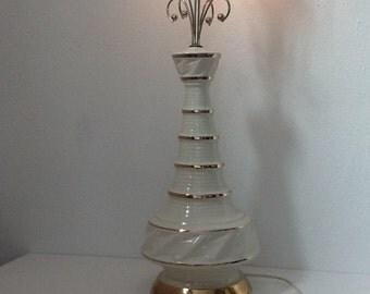 Vintage 60's Retro Gold and Ceramic Lamp