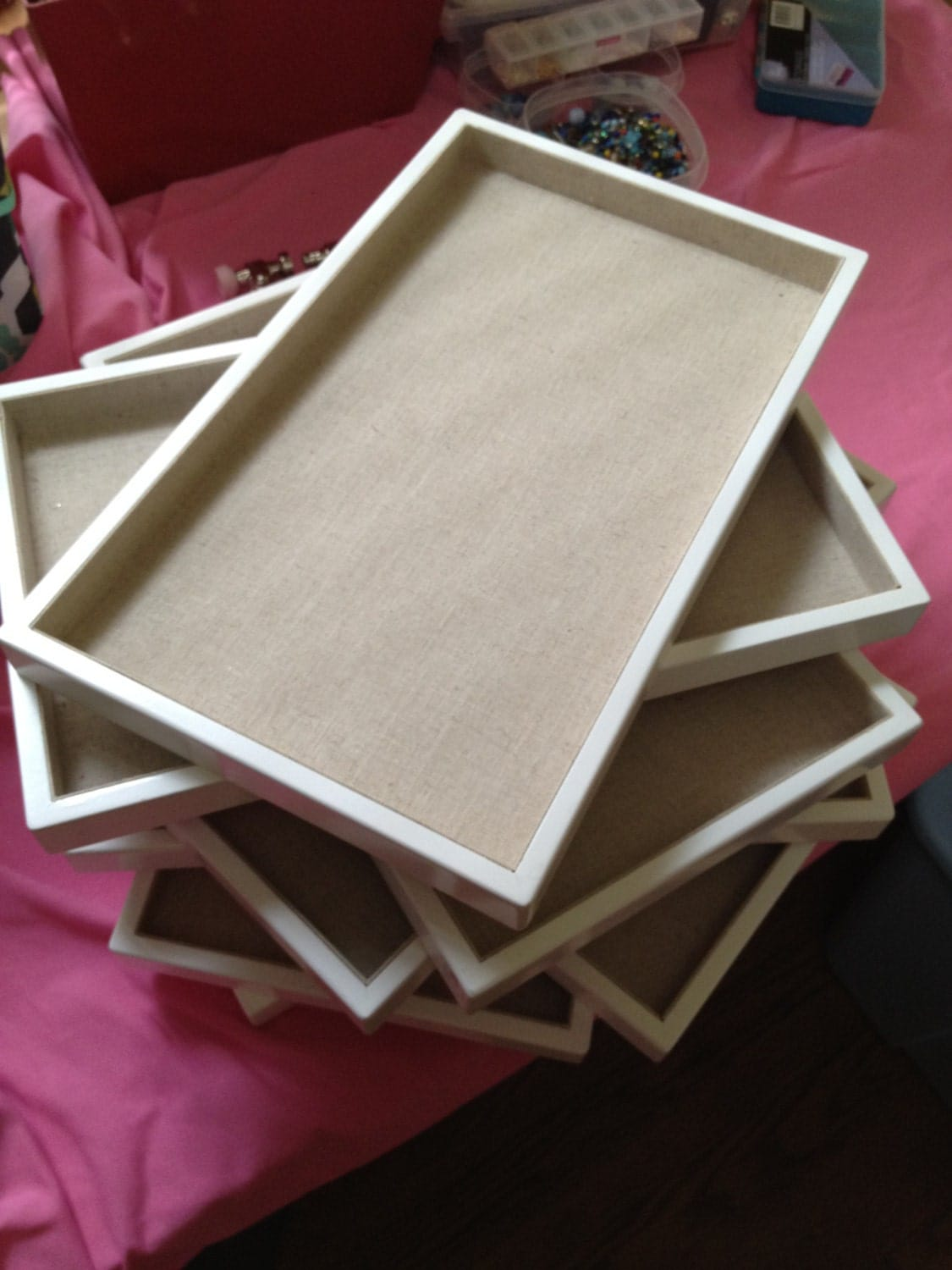 Linen Lined White Jewelry Display Trays By Thenestedhen On
