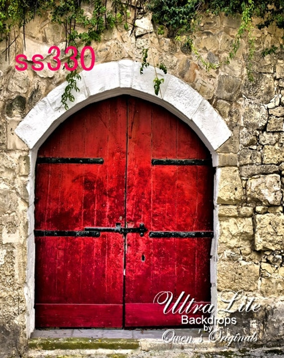 Red Doors Stone : Photography backdrop red door stone wall photo background