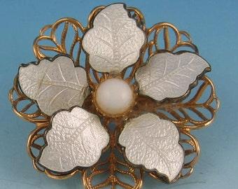 Vintage White Enamel Leaf Milk Glass Goldtone Filigree Flower Pin Brooch