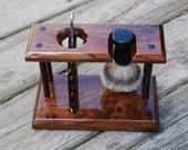 Shaving Stand for Straight Razor and Badger Brush, Solid Walnut Wood