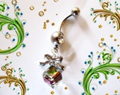Belly Ring, 3D Diamond Rainbow Alexandrite Peacock Crystal Cube, Neoglory Swarovski Elements Belly Button Navel Ring,Jewelry For Women,Teens