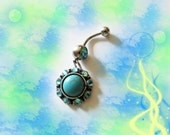 Belly Ring, Genuine Tibetan Silver Turquoise Moon, with Blue Crystals, Belly button Jewelry For Women and Teens