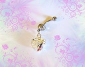 SALE-Belly Ring, 925 Sterling Silver Filigree Puffed Eternity Love Heart, Belly Button Jewelry For Women and Teens