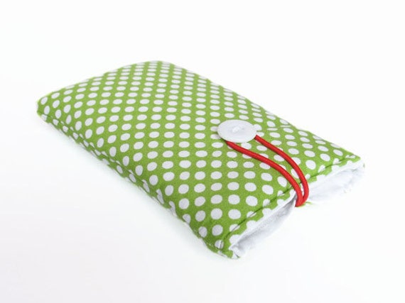 Green dotted case for iPhone, sleeve, mobile phone, etui, bag, cases cover dots handmade padded fabric cotton 6, 3G, 4, 4S, 5