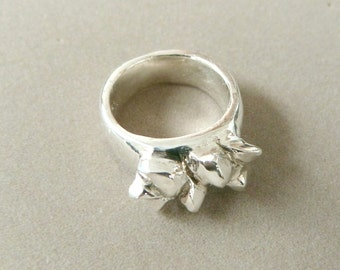 Handmade Heavy Sterling Silver Nugget Ring, Unisex, Size 7 1/2