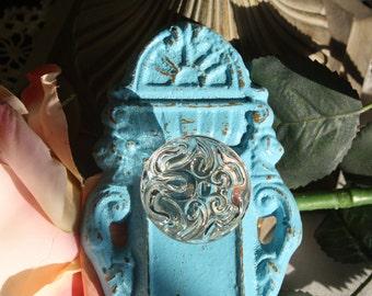 ISLAND SPLASH BLUE  Ornate Vintage Look Decorative Cast Iron Door Plate Hook with Glass Look Knob / Wall Hook