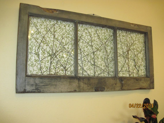 Wooden Window Frame Wall Decor : Old window decor reclaimed vintage wooden art wall picture