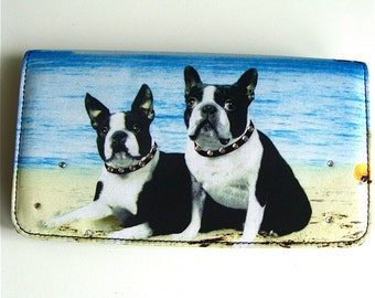 boston terrier leather wallet or purse