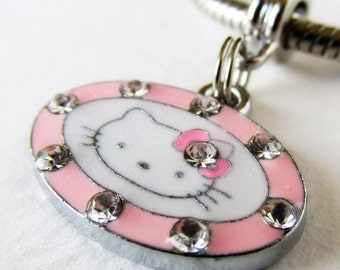 Kitty Cat European Charm Bead With Rhinestone Accents - Pendant Kitty Cat Charm For European Charm Bracelet And Necklace Chains