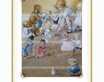 Edwardian Child Playing Dolls Teddy Toys Duck Nursery Watercolor Print Girl Antique Picture Bedroom Wall Art bb 267