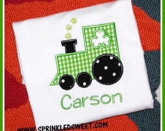 Shamrock Train St. Patty's Patricks Day Applique Monogram Name Girl Boy Baby Shirt First St Patricks Day
