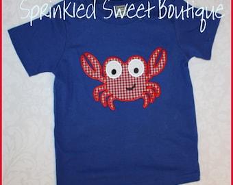 Happy Crab Boys Summer Beach Custom Applique Shirt -White or Blue