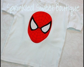 Spiderman Applique Shirt Superhero Boys Shirt Add Monogram or Name Perfect for a Spiderman Birthday or Halloween Costume Girls Available
