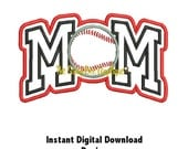 DD BASEBALL MOM Double Layer Applique - Machine Embroidery Design - 3 Hoop Sizes - Instant Download