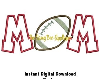 DD FOOTBALL MOM Applique - Machine Embroidery Design - 5 Sizes - Instant Download