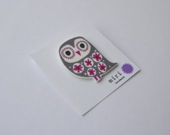 Retro Owl Brooch in Grey and Cerise Pink, Handmade Illustrated Pin
