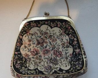 Vintage JR Tapestry Purse or Clutch with Roses Pale PInk Gold Toned Chain and Outlined in Gold