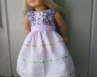 Pretty in purple and blue dress for American Girl Dolls