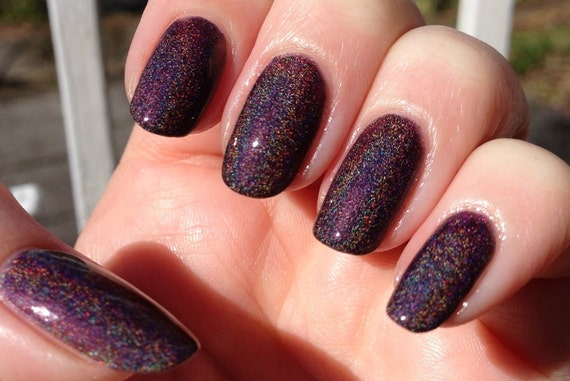 """Euphoria Nail Polish -  Chocolate Plum Linear Holographic - Full Size 15 ml Bottle -""""This item made the front page of Etsy"""""""