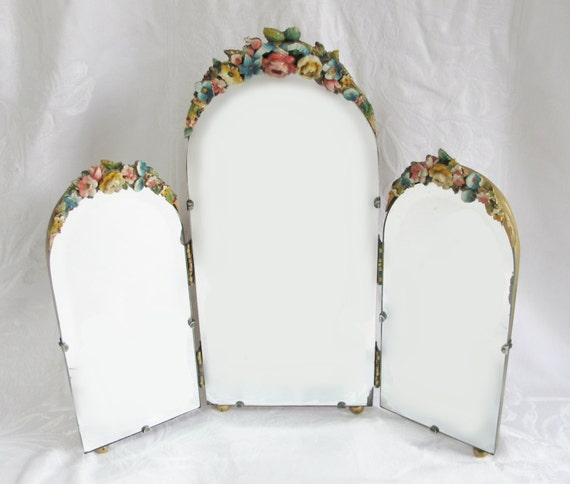 Barbola Mirror Antique English Country Cabbage Rose Dressing