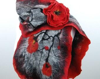 Felted scarf , Red Poppy-nunofelt felted flower, felt scarf ,merino wool ,alpaca wool, gray grey black  red FREE BROOCH fiber art