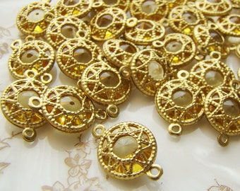 Vintage Filigree Brass wrapped Golden Topaz Lucite Jewel Connectors Beads (6)