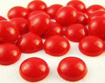 Vintage 9mm Opaque Cherry Red Acrylic Cabochons (6)