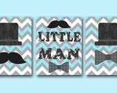 Baby Gift Little Man Baby Boy Nursery Art Print Childrens Wall Art Baby Room Decor Kids Art Kids Print set of 3 8 x10 Little Man Blue Gray