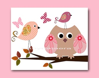 Childrens Art Kids Wall Art Baby Girl Room Decor Baby Girl Nursery Kids Art Baby Nursery Print Kids Room Bird Owl Decoration rose pink