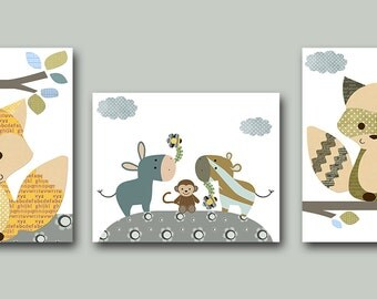 Nursery Art Print Childrens Wall Art Baby Boy Nursery Art Kids Print Nursery Decor Boy set of 3 Fox Zebra Monkey Badger Blue Grey Yellow