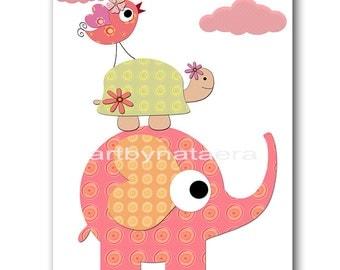 Baby Girl Nursery Art Print Childrens Wall Art Baby Room Decor Kids Print Nursery Decor Girl Baby Wall Art Elephant Turtle Pink Green