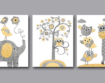 Baby Boy Nursery Art Print Children Wall Art Baby Room Decor Kids Print set of 3 Elephant Giraffe Owls Birds Tree Grey Gray Yellow