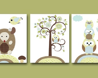 Canvas Art Print Owl Decor Owl Nursery Wall Art Baby Nursery Art Kids Room Decor Kids Art set of 3 Hedgehog Tree Owl Nursery Blue Green/