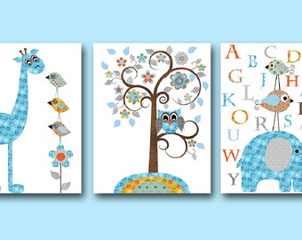 Giraffe Nursery Alphabet Baby Boy Nursery Art Nursery Wall Art Kids Room Decor Kids Art set of 3 Bird Elephant Nursery Orange Gray Blue