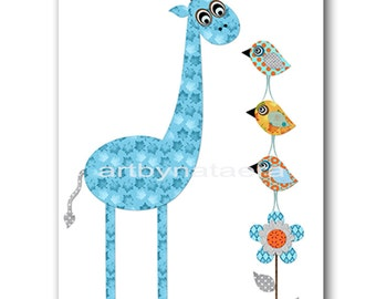 Giraffe Nursery Baby Boy Nursery Art Nursery wall art baby nursery kids room decor Kids Art Boy Print giraffe birds  blue orange