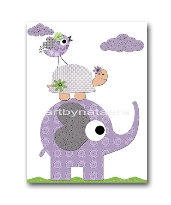 Elephant Nursery Baby Girl Nursery Decor Baby Nursery Print