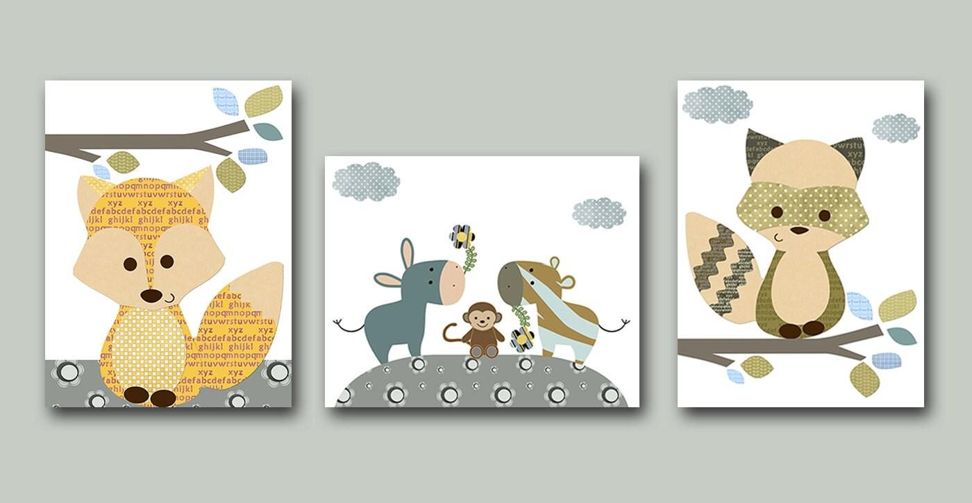 Nursery art print childrens wall art baby boy nursery art kids - Wall decor for baby boy ...
