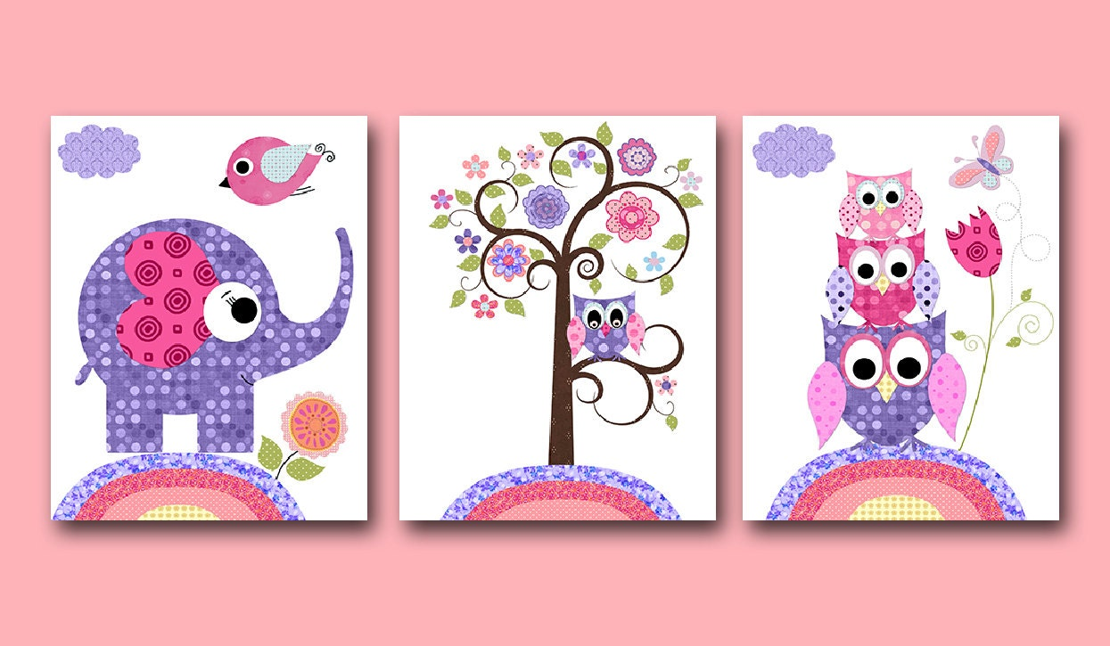 Owl decor owl nursery baby girl nursery art nursery wall art for Baby owl decoration