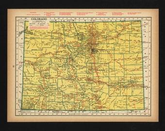 Vintage Map of Colorado From 1944 Original