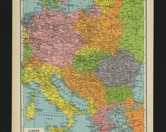 Vintage Map of Central Europe From 1944 Original