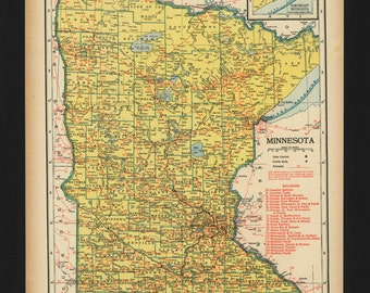 Vintage Map of Minnesota From 1944 Original
