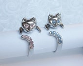 SALE -  2 Kitty Rings Buy 1 get 1 Free - Beautiful Cat Rings with pink/blue crystals.Cat - cat lover - cats - kitty ring - kitten