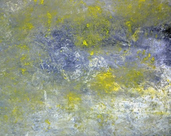 Older and Wiser, 2013 - Original Acrylic Artwork Modern Abstract Painting Wall Decorative Free Shipping Grey Yellow White 18x24 Canvas