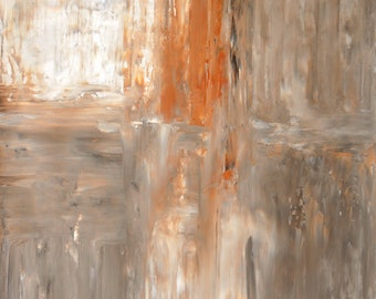 Original Art, 2013 - Acrylic Modern Contemporary Abstract Painting Wall Decorative Free Shipping Grey Brown Beige Neutral White 19.5x27